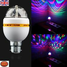 B22 3W RGB LED Full Color DJ Stage Light Bulb Auto Rotating Crystal Lamp UK FE