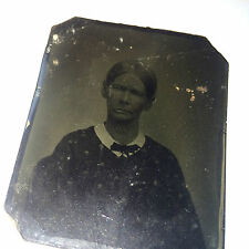 Small Antique Tintype of Victorian Woman / Warn & Weathered! Old Lady! Scary!