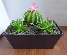 Set of 3 Artificial Blooming Cactus Ball Succulents Mini Grass