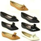 NEW WOMENS FLAT PUMPS LADIES PATENT BALLET BALLERINA DOLLY BOW SHOES SIZE 3-8