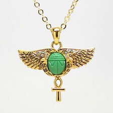 Egyptian Open Wings Scarab Ankh Pendant Necklace Fashion Accessory Jewelry J361