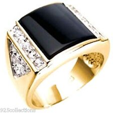 13X13 mm Semi-Precious Black Onyx Clear CZ Stone Gold Plated Men Ring Size 11