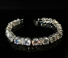 14k Platinum GF Tennis Bracelet made w/ Swarovski Crystal Clear Bling Stone