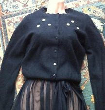 BEAUTIFUL Cashmere Soft Fluffy Black Cardigan with Cream Flowers size 10-12