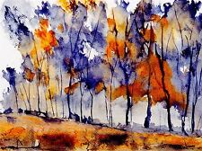 WATERCOLOR PAINTING ABSTRACT FOREST BLUE ORANGE PHOTO ART PRINT POSTER BMP1034A