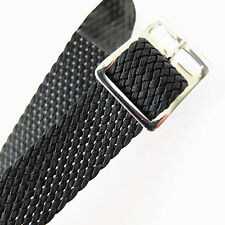 16mm DARLENA BLACK WOVEN / PERLON FABRIC ONE PIECE WATCH STRAP, SILVER BUCKLE
