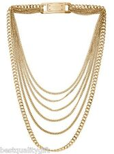 MICHAEL KORS GOLD TONE MULTI STRAND CHAIN LINK LOGO BAR HINGE NECKLACE MKJ2920