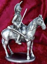 French Cuirassier from Napoleon's Army on Horse Silver Plated Pewter (1600)