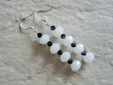 Faceted White Crystal Quartz & Jet Black Crystals Silver Fashion Earrings