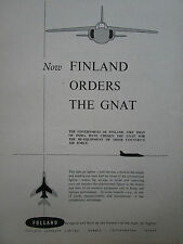 11/1956 PUB FOLLAND AIRCRAFT GNAT FIGHTER FINLAND FINLANDE AIR FORCE ORIGINAL AD