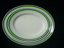 WEDGWOOD & CO LTD Set 3 Oval Plates Ivory with green/black band 14/12/10 ¾ inch