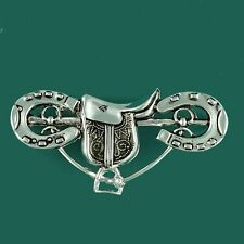 Vintage Saddle Horseshoe Horse Riding  Brooch Pin Hunt Pony Club Equestrian Gift