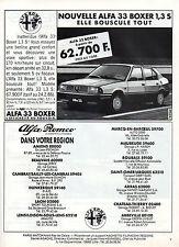 Publicité Advertising 1986  NOUVELLE ALFA 33 BOXER 1.3 S