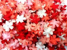 100 Mixed Red Tone & White  Flowers mulberry paper for Craft & D.I.Y