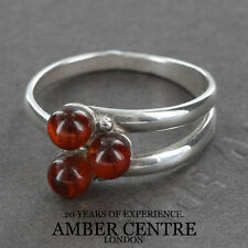 Three Rich Orange Baltic Amber Beads In 925 Silver WR260; RRP £30; Size Q