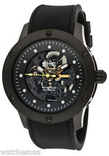 Rotary 511C Men's Automatic See Thru Black Dial Black Case Black Rubber Band