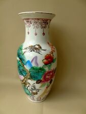 Early/mid 20th c chinese vase-famille verte-cigognes & fleurs décoration