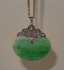 Vintage 18k 2-tone Natural Untreated Hand Carved Jadeite and Diamond Pendant