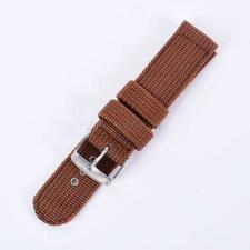 Unisex Military Army Nylon Fabric Canva Wrist Watch Band Strap Brown 18mm