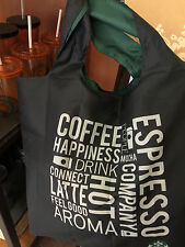 (1) RARE OOP STARBUCKS SINGAPORE BLACK TOTE w/ZIPPER BAG & HAWAII 2014 HULA CARD