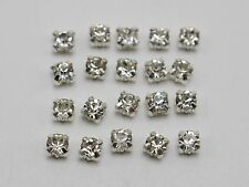 250 Silver Clear Crystal Glass Rose Montees 4mm Sew on Rhinestones Beads