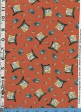 Fabric QT ALICE IN WONDERLAND Mad Hatter's Tea party ORANGE BTHY