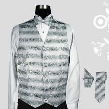 Solid & Design Men Tuxedo Vest 4 Piece Set  with Bow Tie, Handkerchief,and Tie