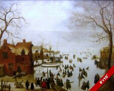 1600'S EUROPEAN DUTCH WINTER LANDSCAPE SCENE PAINTING ART REAL CANVAS PRINT