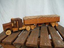 Vintage Handmade Wood Semi Truck & Trailer Grain Hopper Model OOAK Cedar Fir 19""