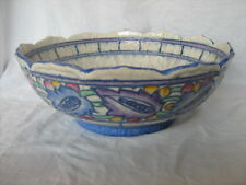 Signed Charlotte Rhead Crown Ducal tube lined hand decorated large bowl