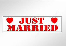 Wedding bumper sticker. Just Married. with red hearts stencil style lettering