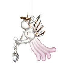Pink Loving Angel Ornament Adorned with a Swarovski Hanging Crystal Heart