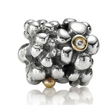 ORIGINAL PANDORA ELEMENT SILBER GOLD BEAD 790317D BICOLOR MIT DIAMANT BLUMEN