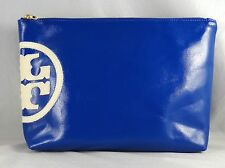 TORY BURCH BEACH DIPPED LARGE SLOUCHY BLUE COSMETIC CASE