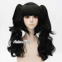 Lolita Black Fashion Party Cosplay Wig with Long 60CM Curly Ponytails + Wig Cap