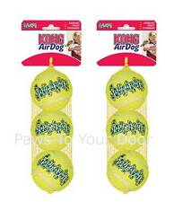 Kong air squeaker dog toy medium 2 x pack 3 tennis balls interactive fetch puppy