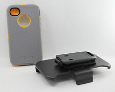 OtterBox Defender iPhone 4 4S Hard Case w/Holster Belt Clip Gray/Yellow USED
