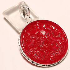 CARVED CHINESS CORAL .925 STERLING SILVER PENDANT 2.3""