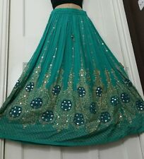 Ladies Indian Boho Hippie Gypsy Long Sequin Party Skirt Rayon Mint Green&Gold