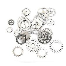 20pcs Silver Alloy Steampunk Gear Charms Clock Parts Craft Jewelry Findings