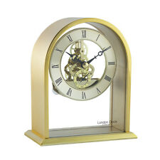 LONDON CLOCK COMPANY GOLD ARCH TOP SKELETON MECHANISM MANTEL TABLE CLOCK
