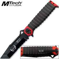 "MTECH USA 9.5"" TANTO SKULL RED SAWBACK SPRING ASSISTED TACTICAL FOLDING KNIFE"