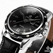 ORKINA Mens Elegant Black Case Dial Leather Date Sport Wrist Quartz Watch