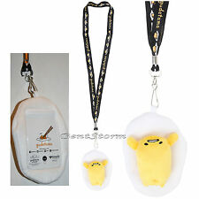 GUDETAMA LAZY EGG Plush Toy Lanyard ID Card Holder Neck Strap by San Rio NEW