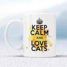 Keep Calm and Love Gatti Splash Tazza Regalo Gattini Animali Domestici Animal Meow COPPA presenti