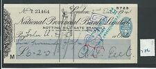 wbc. - CHEQUE - CH786 -  USED -1941 -NATIONAL PROVINCIAL, NOTTING HILL GATE, W11