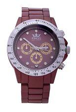 Reyes Marrón Chocolate Metal Correa Dial de plata señoras reloj analógico de cuarzo