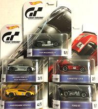 1/64 HOT WHEELS GRAN TURISMO SET OF 5 Nissan,Ford GT,Corvette,lambo,Nissan