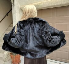 WOMEN'S GENUINE BLACK MINK FUR COAT WITH FULL PELTS