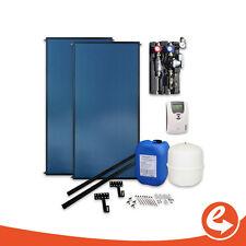 Solaranlage Komplettpaket ohne Speicher, 2 Stück Flachkollektor, Warmwasser